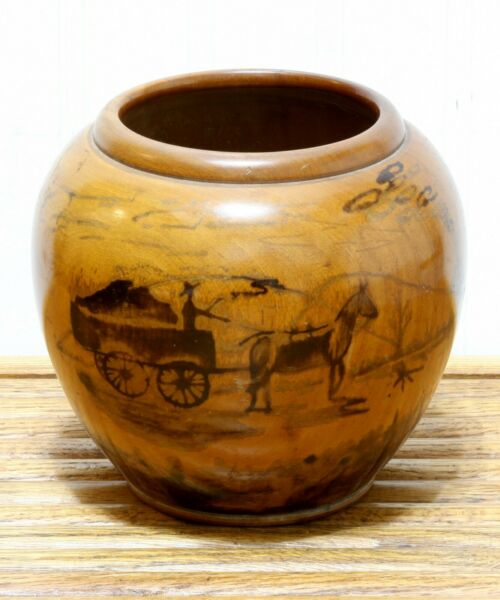 Vintage Hand Turned Wooden Vase Bowl With Horse And Wagon Scene Mid Century