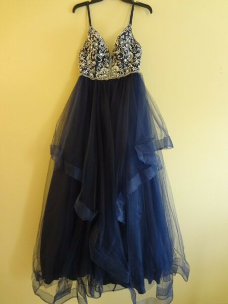BEADED amp; TULLE V NECK PROM COCKTAIL DRESS SIZE 9 10 NAVY SPAGHETTI STRAPES