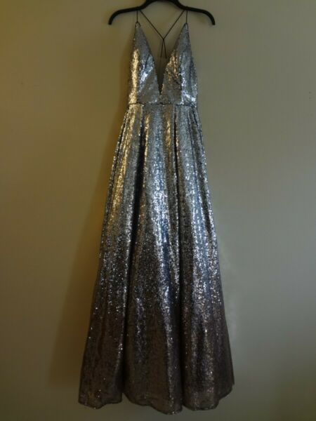 COLETTE by MON CHERI SEQUIN PROM COCKTAIL DRESS SIZE 8 OMBRE SILVER TO COPPER