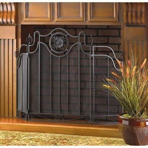 Steel Fireplace Screen Cabinet Decor Metal Fire Black Safety Home Art Accent
