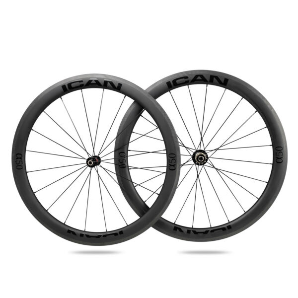 ICAN Alpha 50C Carbon Road Bike Wheelset 700C Clincher Tubeless Ready 25mm width $495.00