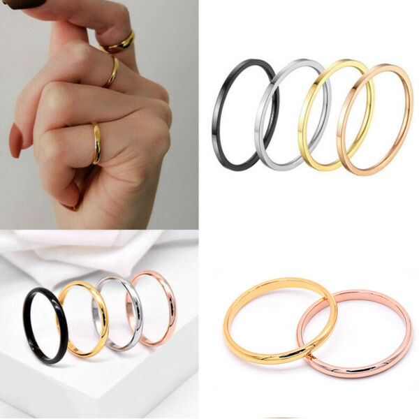 Women Girl 2mm Thin Stackable Ring Stainless Steel Plain Band for Gift Size 3 10