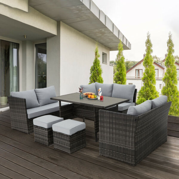 U MAX 7 Pieces Outdoor Sofa Set Wicker Rattan Patio Sectional Furniture Sets