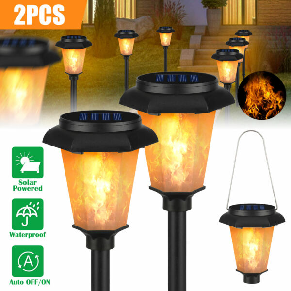 2PC 12LED Solar Torch Dance Flicker Flame Light Garden Yard Lawn Waterproof Lamp