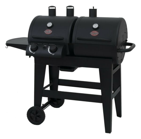 Char Griller Dual 2 Burner Gas amp; Charcoal Combo Grill in Black