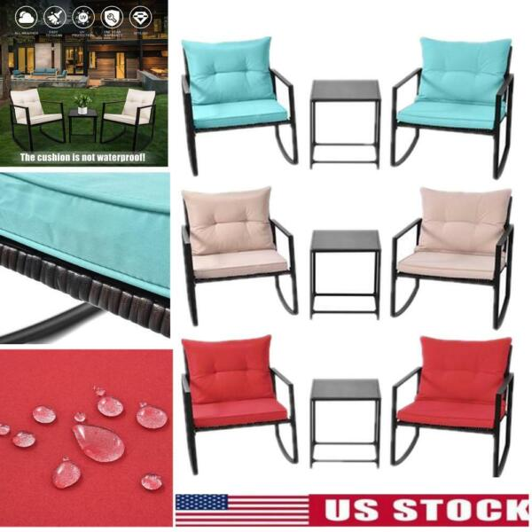 3Pcs Rattan Patio Outdoor Furniture Set Rocking Sofa Chair amp; Table W Cushion US $149.99