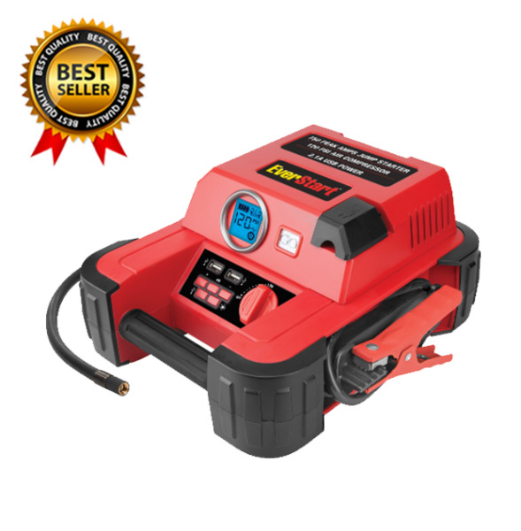 Auto Battery Jump Starter Air Compressor 750 Peak Amps Portable Car SUV Charger $43.87
