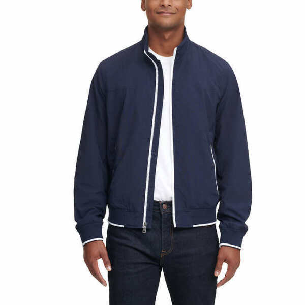 Tommy Hilfiger Men#x27;s Bomber Jacket BLUE Select Size: S XXL FAST SHIPPING $47.95