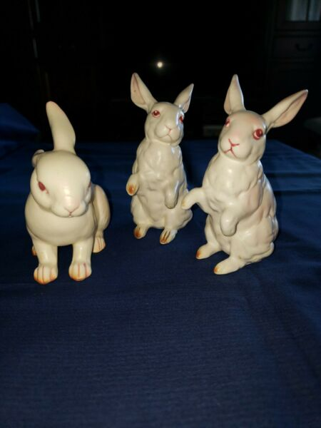 Vintage Lot 3 Rabbits Bunny Lefton Figurines.approx.4quot; tall