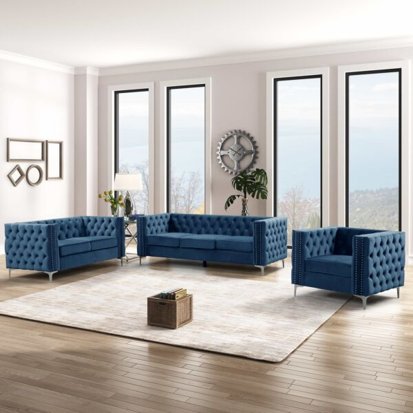 Morden Fort Accent Chair Couches Set Dutch Velvet Armchair Solid Wood Frame Blue