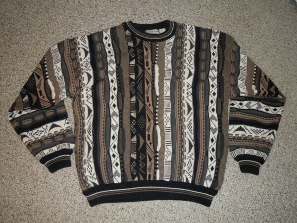 VINTAGE COTTON TRADERS 90#x27;S COOGI STYLE TEXTURED COSBY SWEATER PULLOVER SZ LARGE $49.00