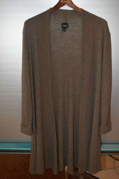 EILEEN FISHER Knit Long Peplum Cardigan Brown Sz M Ital.Material great condition