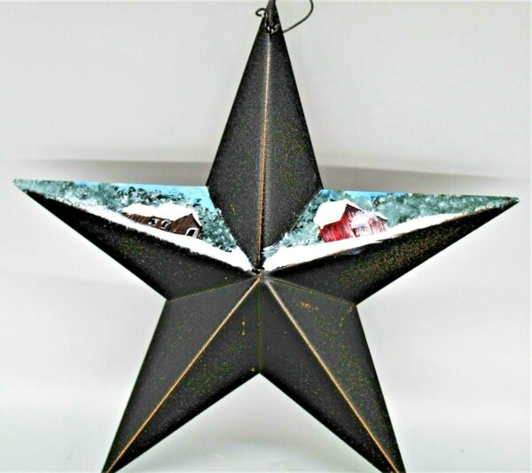 Metal country star with hand painted winter barn scene 2021021024 $9.00