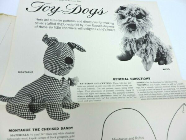 Womans Day Seven Toy Dog Pattern Sheets Vintage 1964 Stuffed Animals UNCUT $19.49