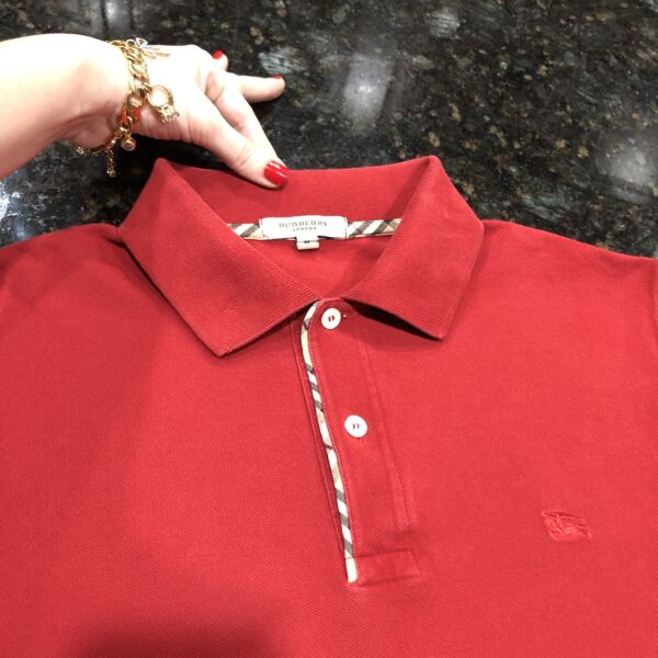 M Medium Authentic Burberry Men Polo Shirt Red Check Placket Golf Tennis Sweater $89.00