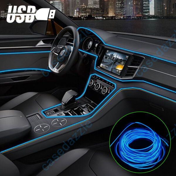 6.6FT Auto Car Interior Atmosphere Wire Strip Light LED Decor Lamp Accessories $9.98