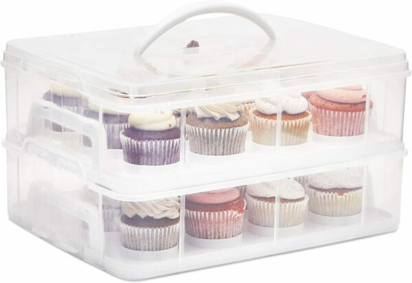 2 Tier Cupcake Carrier with Lid Holds 24 Cupcakes