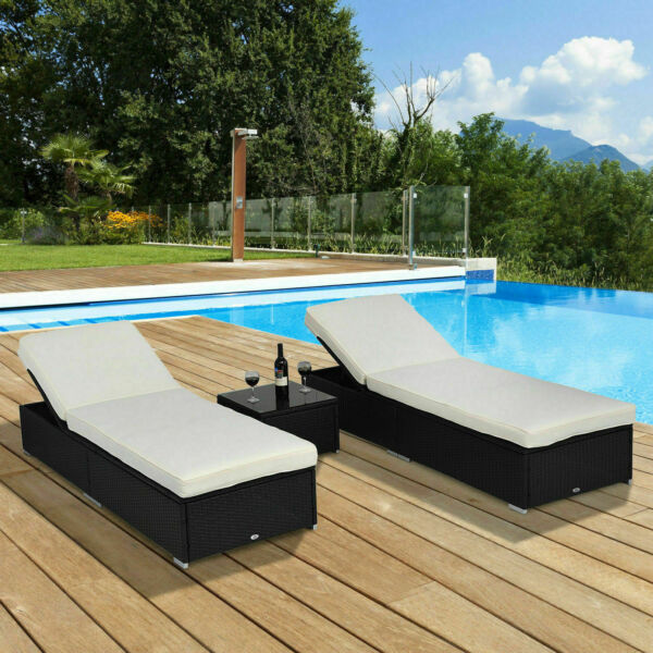 3PC Outdoor Cushioned Rattan Wicker Chaise Lounge Sofa Couch Patio Furniture Set