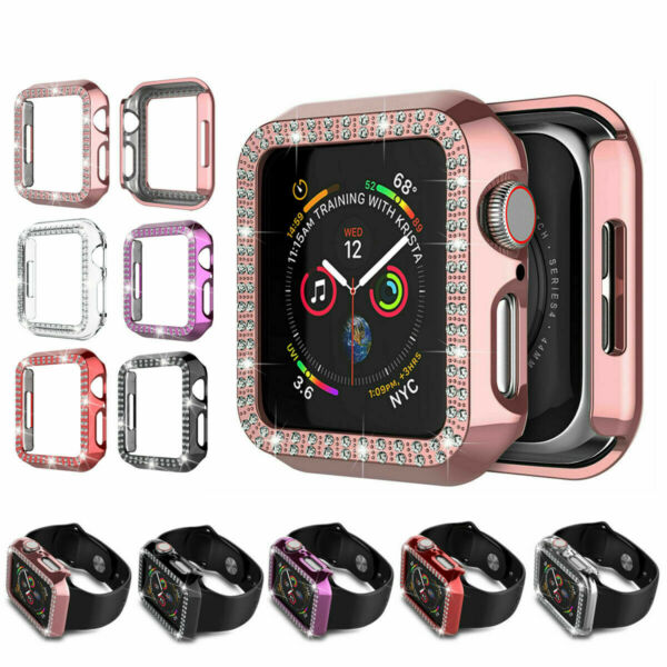 2 Pack Crystal Bling Protective Case For iWatch Apple Watch Series 5 4 3 2 Cover