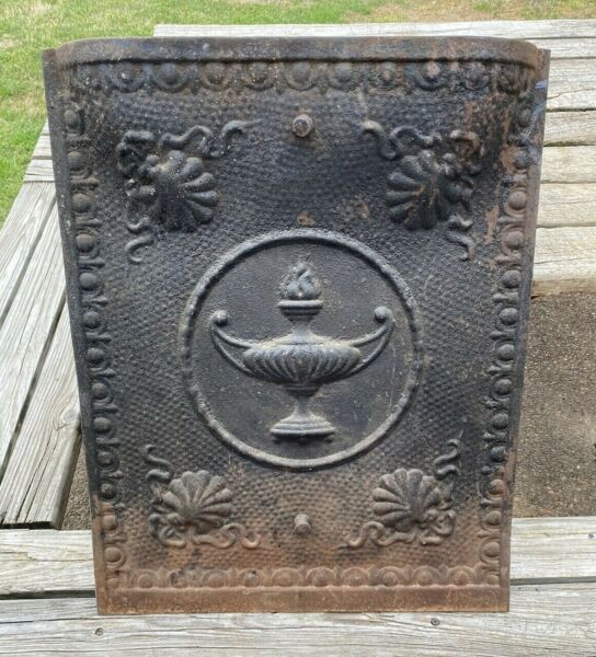 Vintage FIREPLACE COVER Embossed Encircled Flame Urn Design 25quot; by 20quot; Rustic