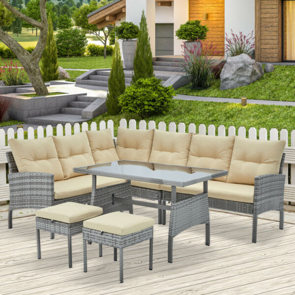 AECOJOY 6pcs Outdoor Furniture PE Rattan Wicker Sofa Set w Dinning Table Chairs $639.99