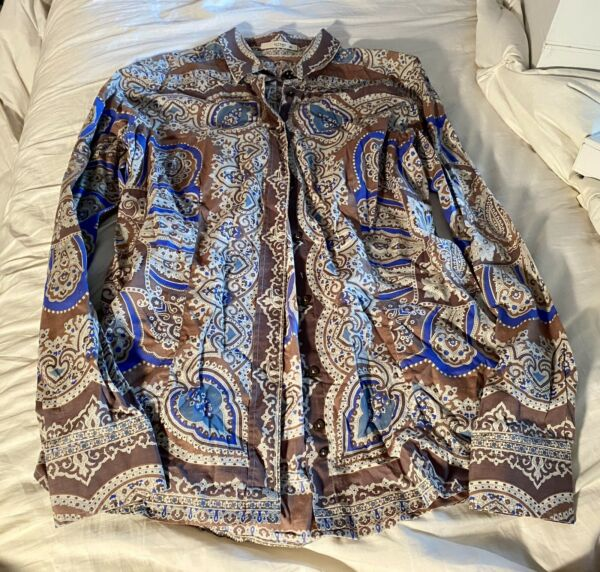 ETRO multi color Paisley Button Down Blouse size 46 US Large $75.00