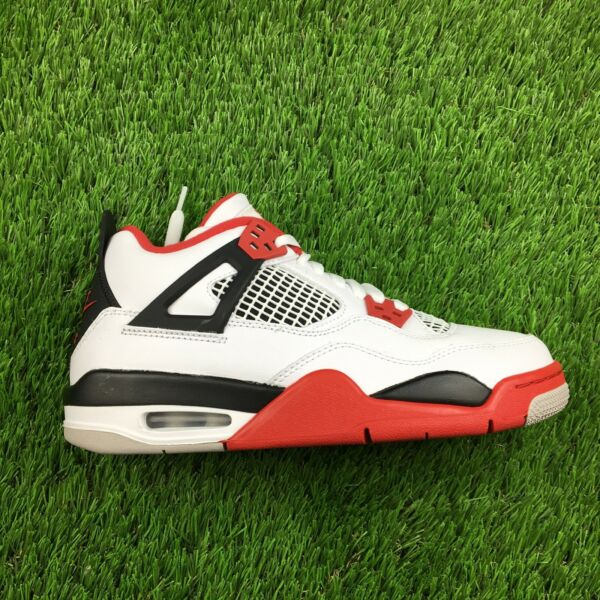Nike Air Jordan 4 Fire Red GS Size 5.5Y White Fire Red Black Shoes 408452 160