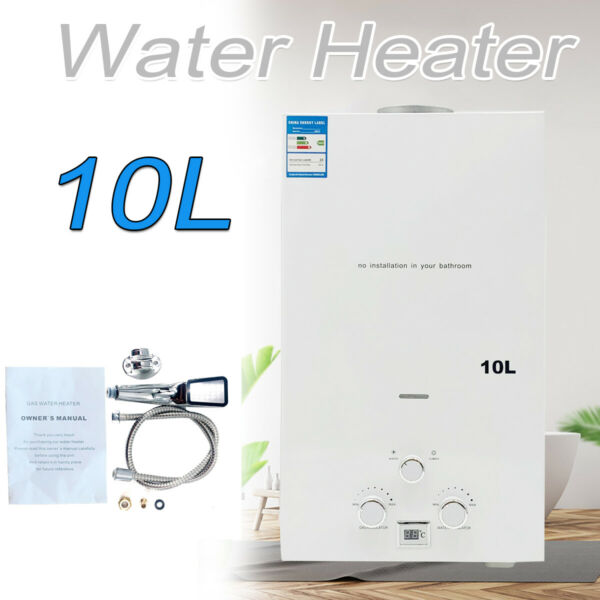 10L Natural Gas Hot Water Heater Tankless Instant Heater With Shower Kit $95.03