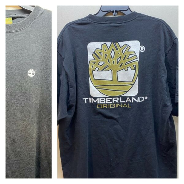 Vintage Timberland Original XXL Black T Shirt Heavy Duty Cotton Thick Tree Logo $29.99