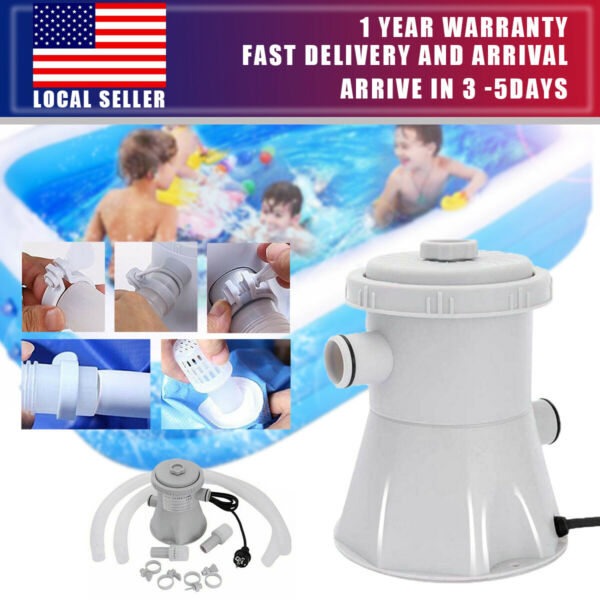 Electric Swimming Pool Filter Pump Powerful Water Cleaning System Above 300GAL $38.99