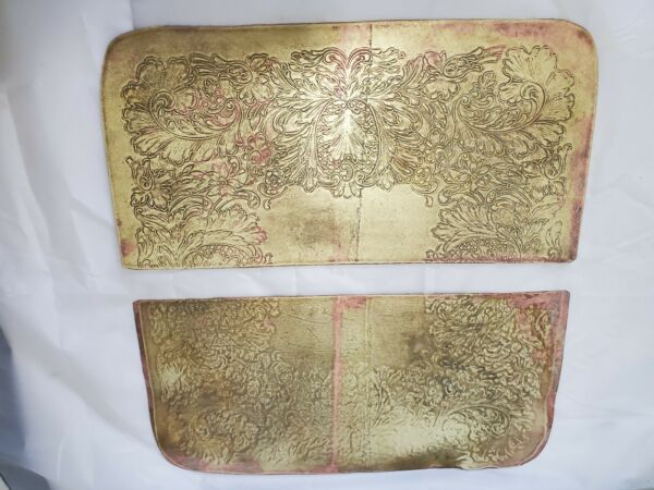 2 Embossed Vintage Brass Sheets Solid 12 1 2 x 6 1 8 each Upcycled Recycled