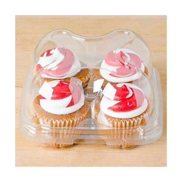 60 Cupcake Containers Plastic Disposable High Dome Clear Cupcake Boxes To G...