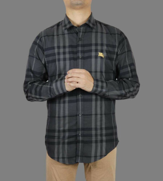 NWT BURBERRY DEEP ASH CHECK SHIRT SIZE LARGE $99.00