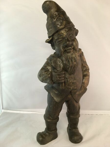 Antique Black Forest Hand Carved Wooden Figural Gnome Elf Dwarf Stump 20quot; Tall
