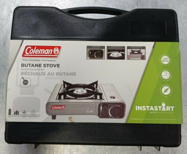 Coleman Portable 1 Burner Butane Gas Stove with Carry Case Gray 7650 BTU Max