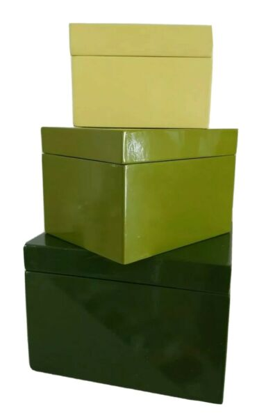 Crate amp; Barrel Set of 3 Solid Green Laquered Wooden Boxes Trinket Rare New