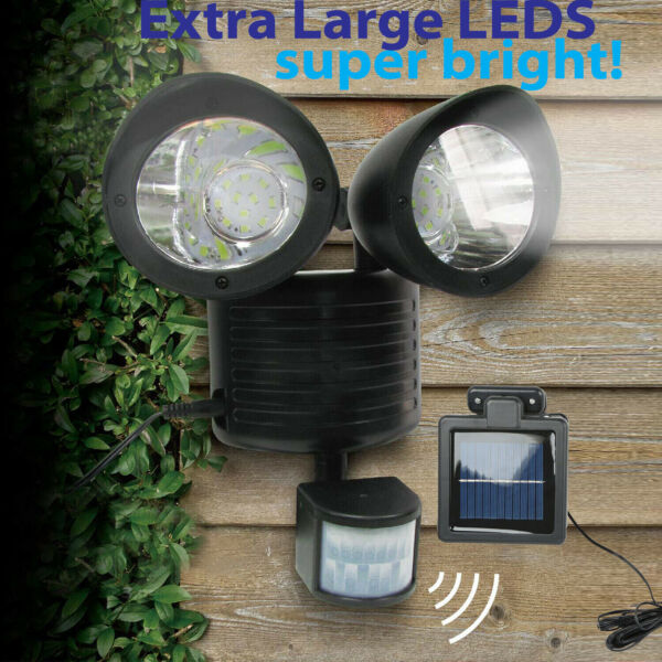 22 LED Dual Security Detector Solar Spot Light Motion Sensor Outdoor Floodlight $24.99