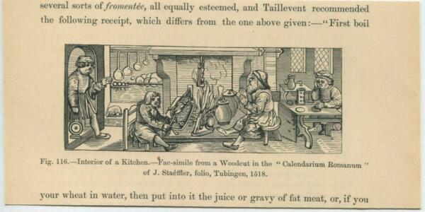 ANTIQUE MEDIEVAL INTERIOR OF A KITCHEN COOKING MEAT ITALY FIREPLACE SMALL PRINT