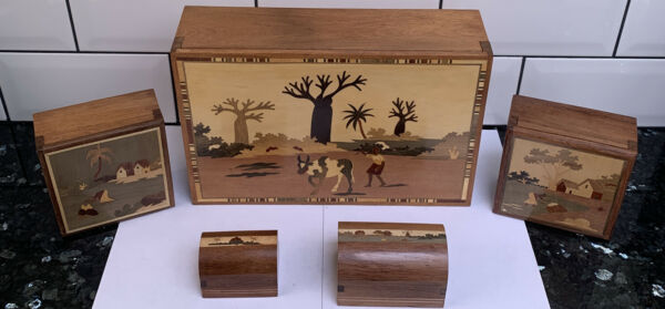 Madagascar Made Wooden Boxes With Secret Sliding Lock. 5 Total In Different Size
