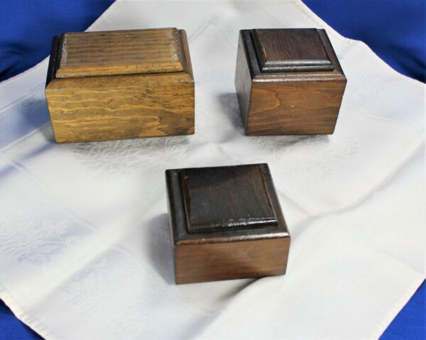 Vintage Small Wooden Boxes with Lid Handmade Rustic Set of 3