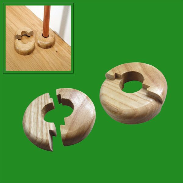 2x Varnished Oak Wood Radiator Pipe Collars for 15mm pipe Easy Fit Covers $6.34