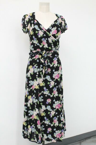Moschino Cheap amp; Chic Black Floral Wrap Dress Size 10 $50.00