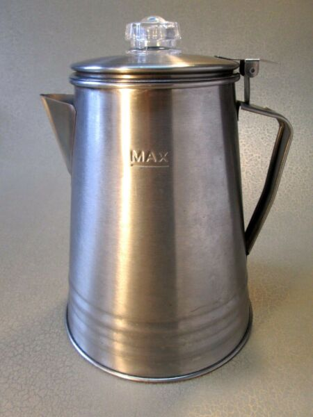 Camping Coffee Percolator Aluminum Stainless 10 cup Camping Pot with Clear Dome