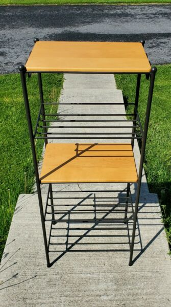 Longaberger Foundry Collection Wrought Iron 5 Tier Stand Rack w 2 Wooden Shelves