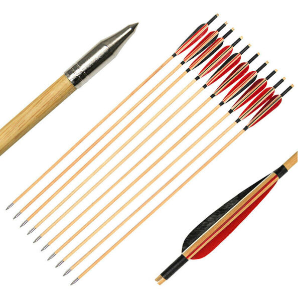 31quot; Archery Wood Arrows Turkey Feather Arrowhead Recurve Longbow Hunting 6 Pack $40.41