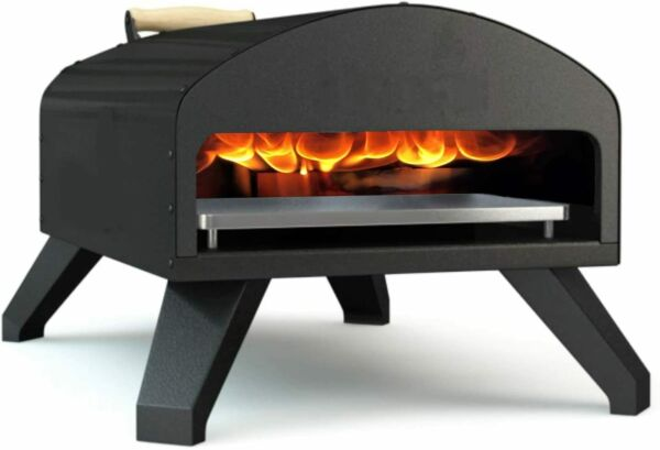 Bertello Outdoor Pizza Oven Wood Fire amp; Gas Black Includes Cover