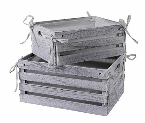 Decorative Lined Storage Wooden Crates Set of 2 White Farmhouse Wood