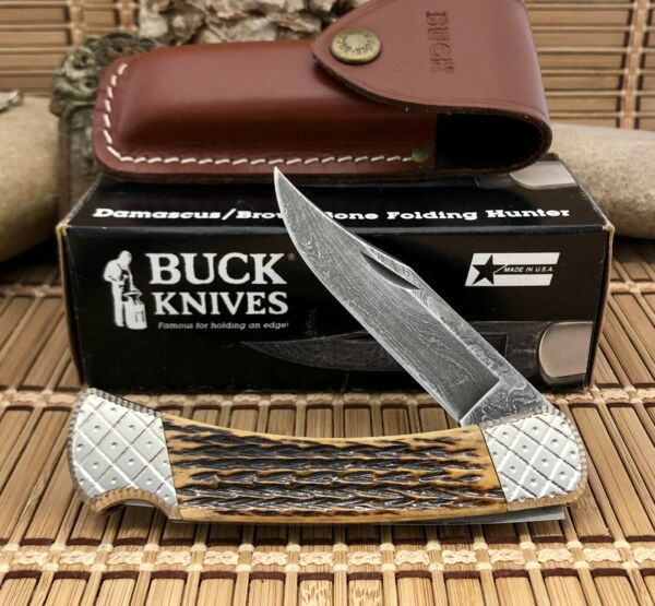 Buck 110 USA AAA Custom BROWN BONE Damascus Engraved Lockback Hunter Knife #1