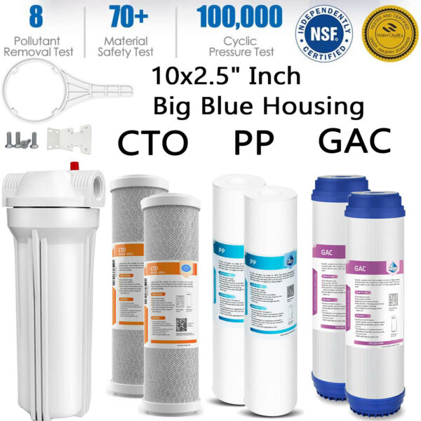 10quot; Inch Big Blue Water Filter Housing5 Micro PPCTOGAC Water Filter 10quot;x2.5quot;