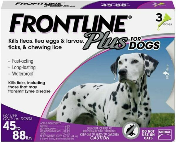 FRONTLINE PLUS DOGS 45 88Lbs FLEA amp; TICK CONTROL 3 DOSES NEW SEALED $21.99
